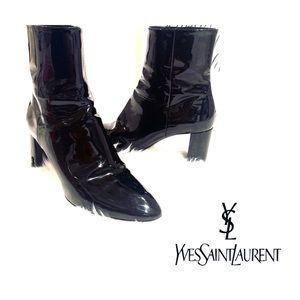 💯 YSL Saint Laurent Black Patent Leather Boots
